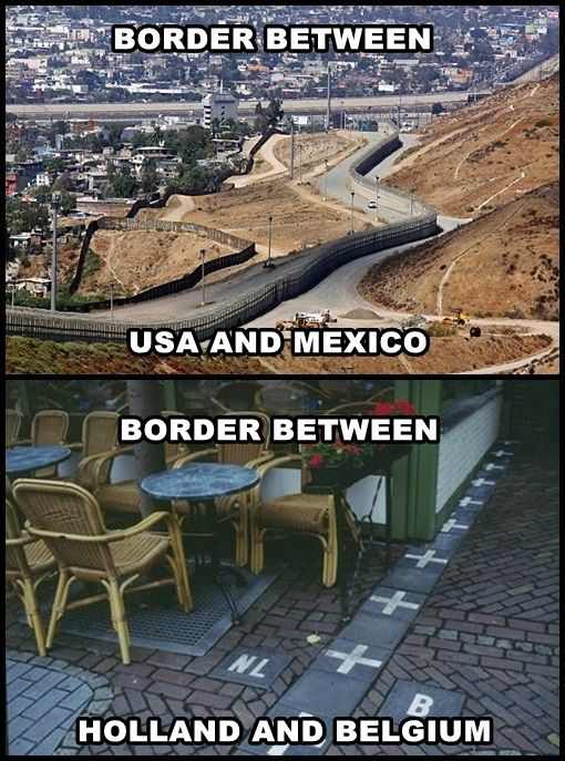 Border between USA and Mexico compared to the border between Holland and Belgium