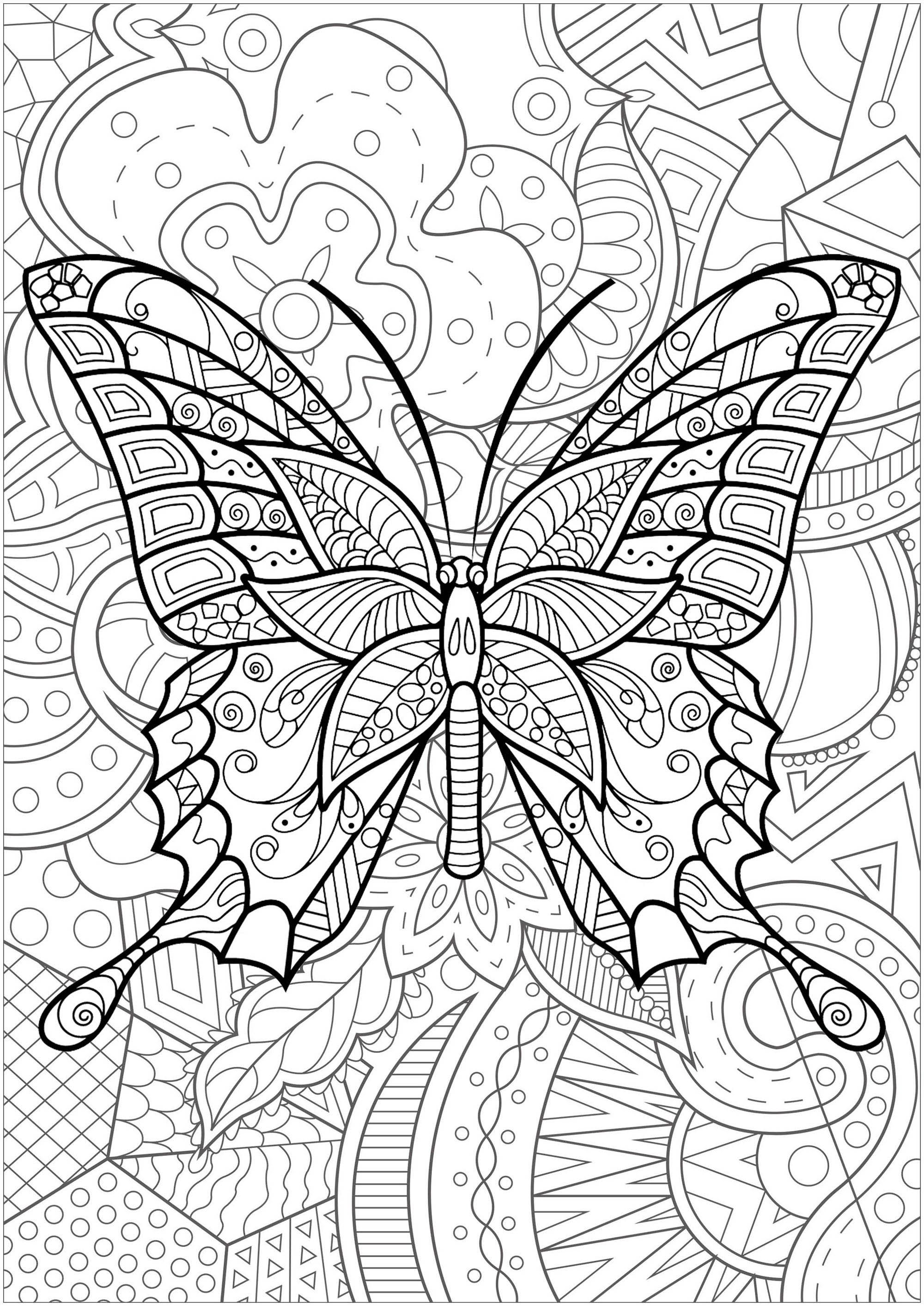 Butterfly With Patterns Inside And Magnificent Flowered Background 3 From The Gallery Insect Coloring Pages Mandala Coloring Pages Butterfly Coloring Page