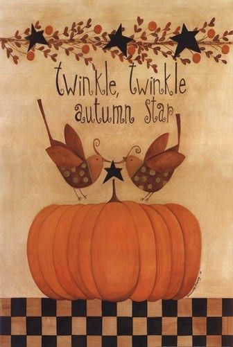 Primitive Folk Art Pumpkin Trio Halloween Fall Harvest Autumn Print 8x10