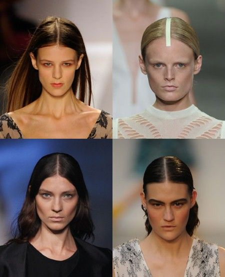 CENTRE PARTINGS  The centre parting is spring/summer 13's ultimate hair-do, and an easy one to master. Keep it slick and straight.  Clockwise from top left: Jill Stuart, Alexander Wang, Thakoon and Prabal Gurung.