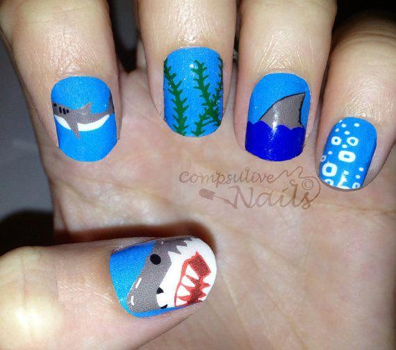 Shark Week Nail Polish Strips Holiday Nails Pinterest Nail