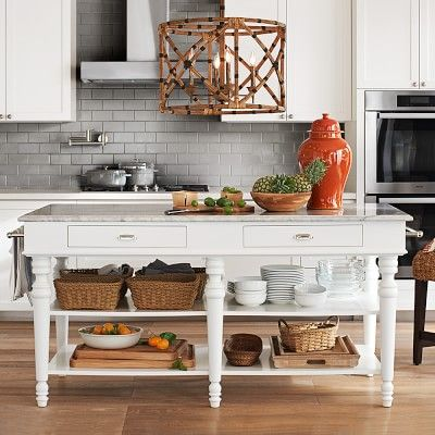 Larkspur Marble Top Kitchen Island Williamssonoma Freestanding Kitchen Island Freestanding Kitchen Marble Top Kitchen Island