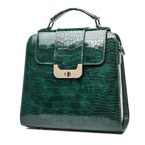 4e5bf209c1 QI WANG Sacs à main en cuir véritable pour les femmes vert brillant  Top-poignée