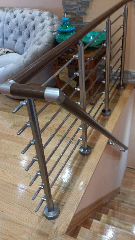 Dark Wood Round Wall Mount Modern Stair Hand Rail ...