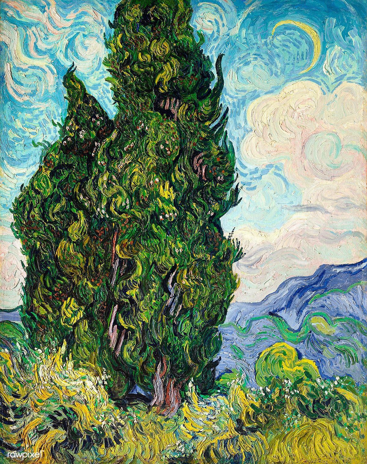 Cypresses 1889 By Vincent Van Gogh Original From The Met Museum