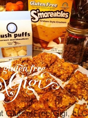 More Happy S'mores Day love! gluten free smores oatmeal cookie bar recipe