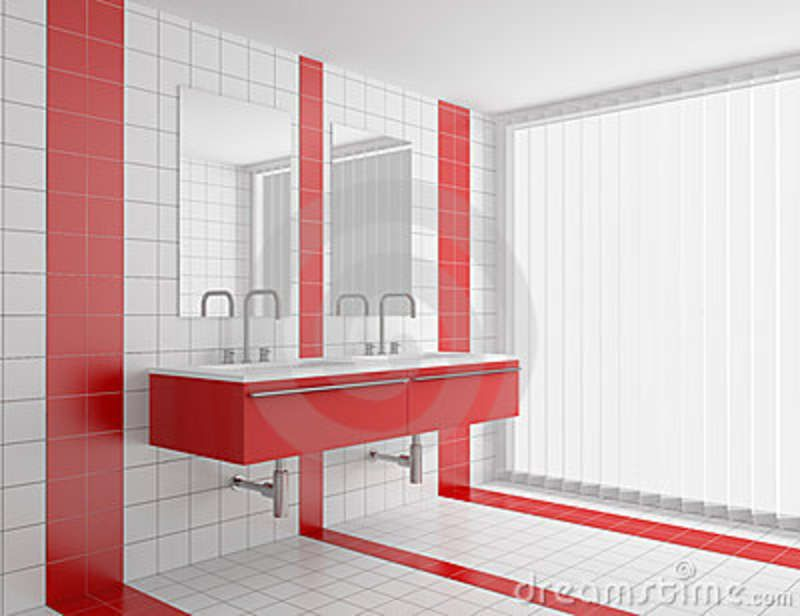 Contemporary Bathroom Design Red White Tiles Jpg 800
