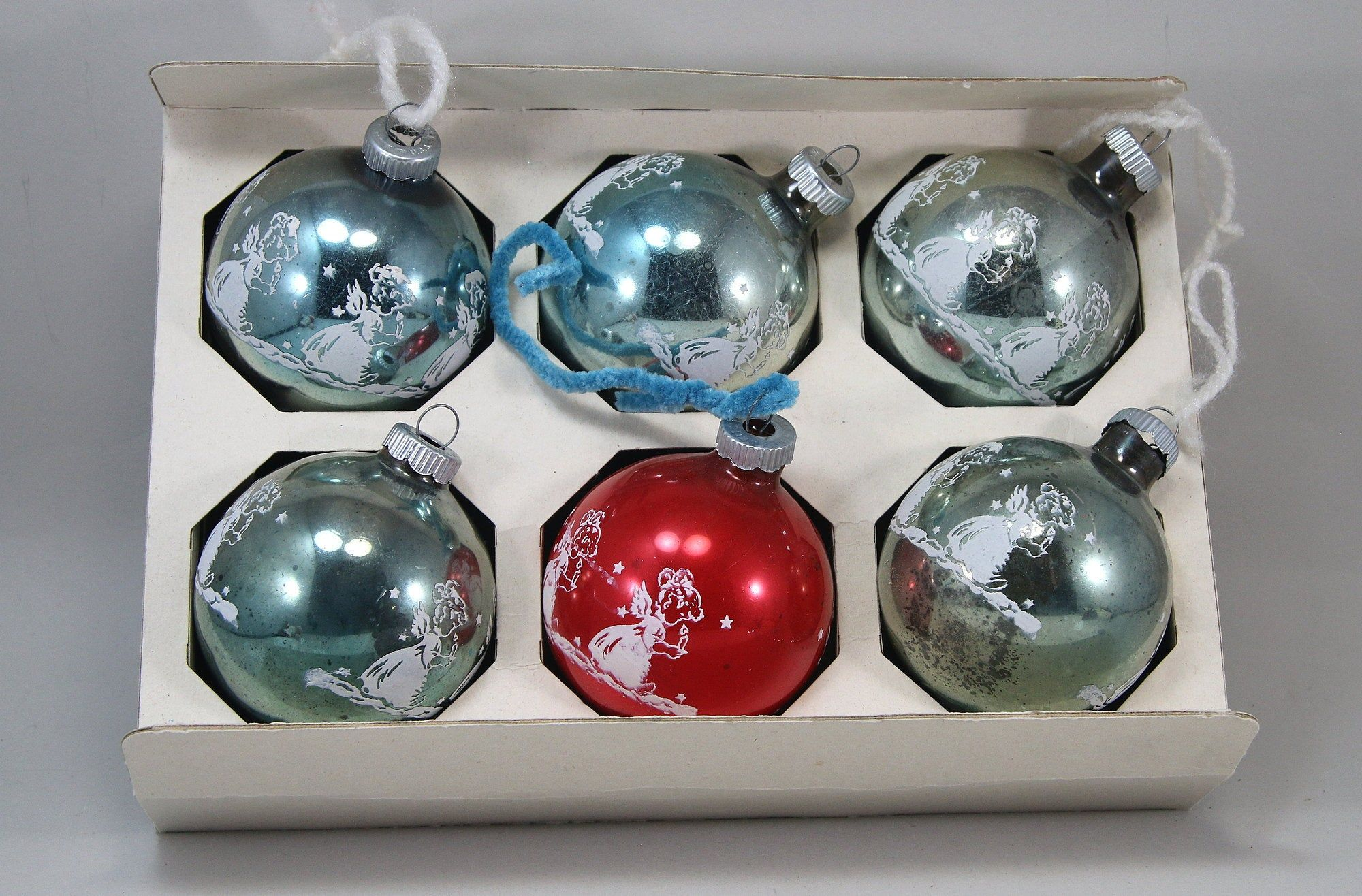 Christmas 2020 Vs Christmas 1970s Vintage Shiny Brite Angel Boxed Christmas Ornaments 1970s   Etsy