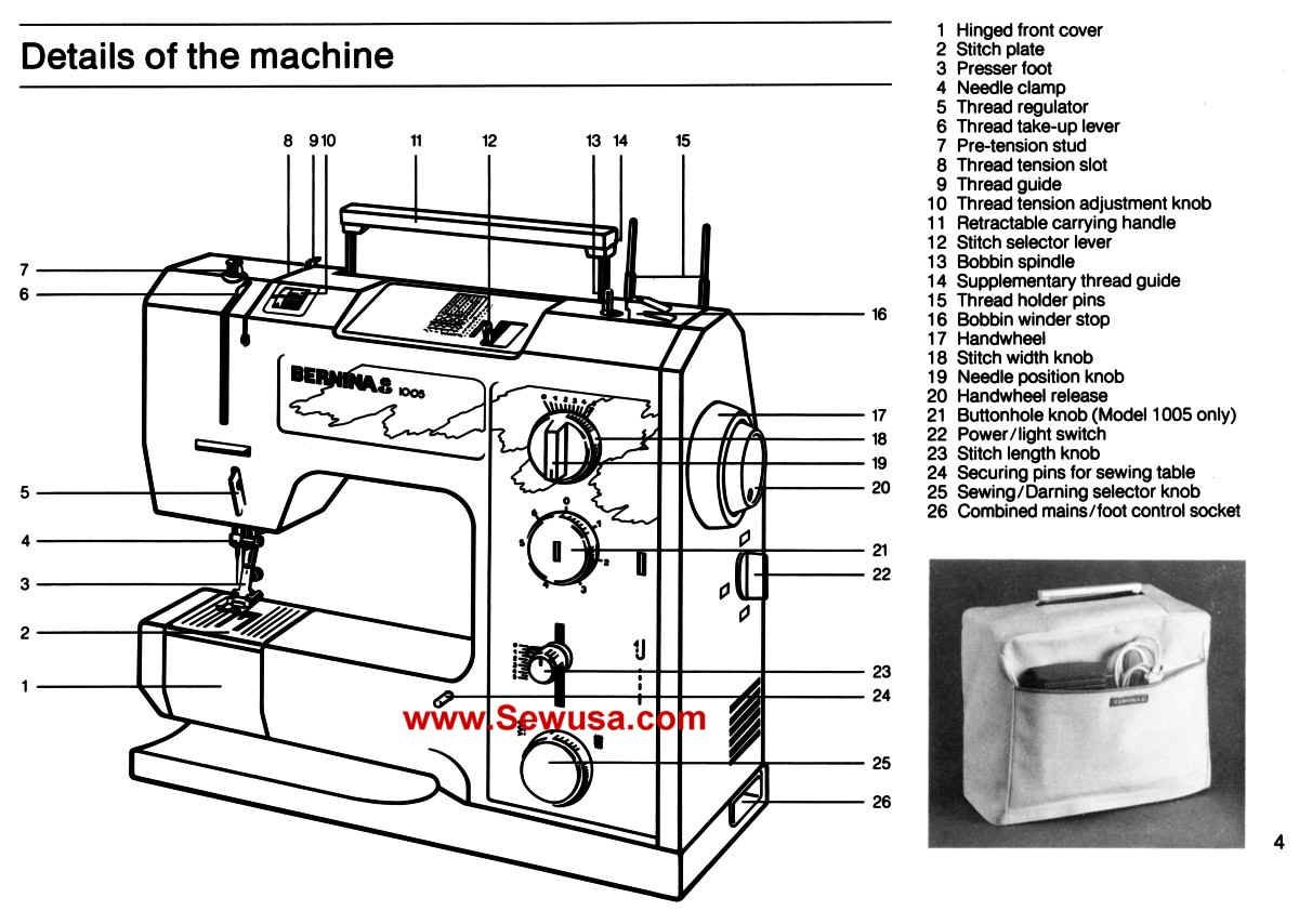Bernina 1004 1005 Instruction Manual | construction ...