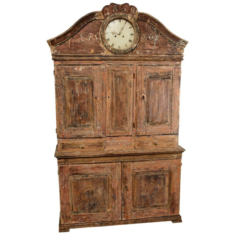 Painted And Scraped Faux Grain Gustavian Clock Cabinet Clock Painting Clock Painted Armoire