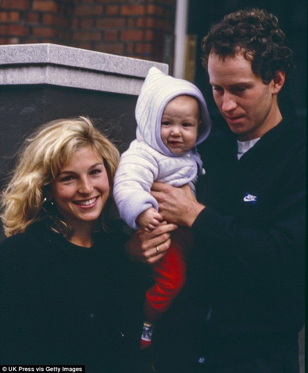 Tatum O' Neal with then husband John McEnroe with their son Kevin in 1986.