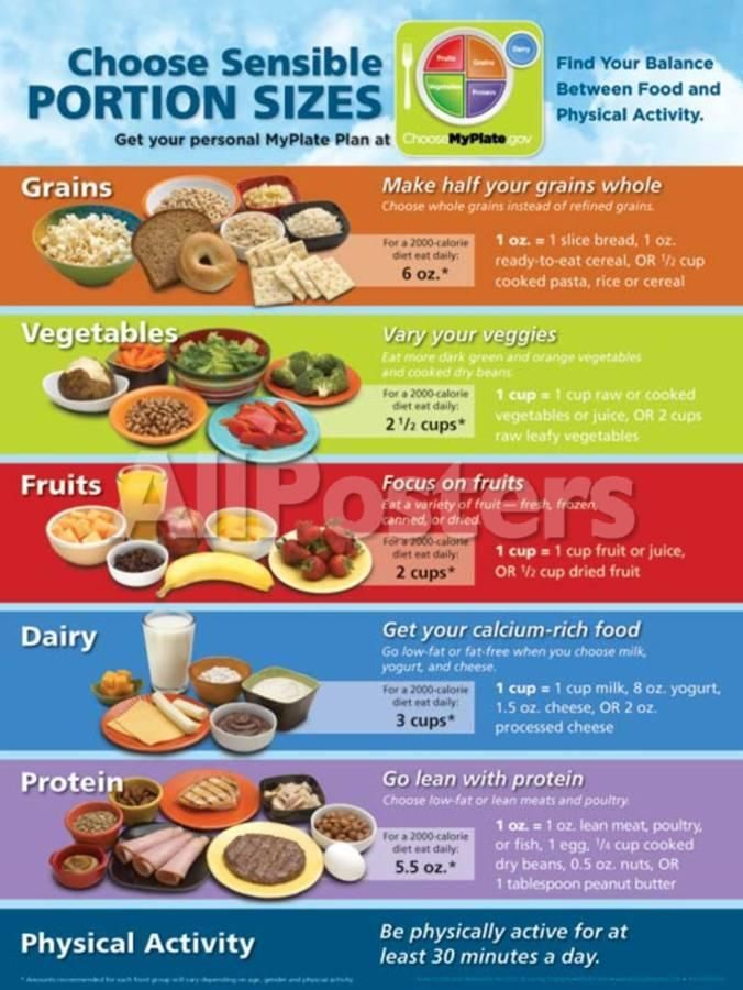 MyPlate Portion Size Poster Prints Portion sizes, Food