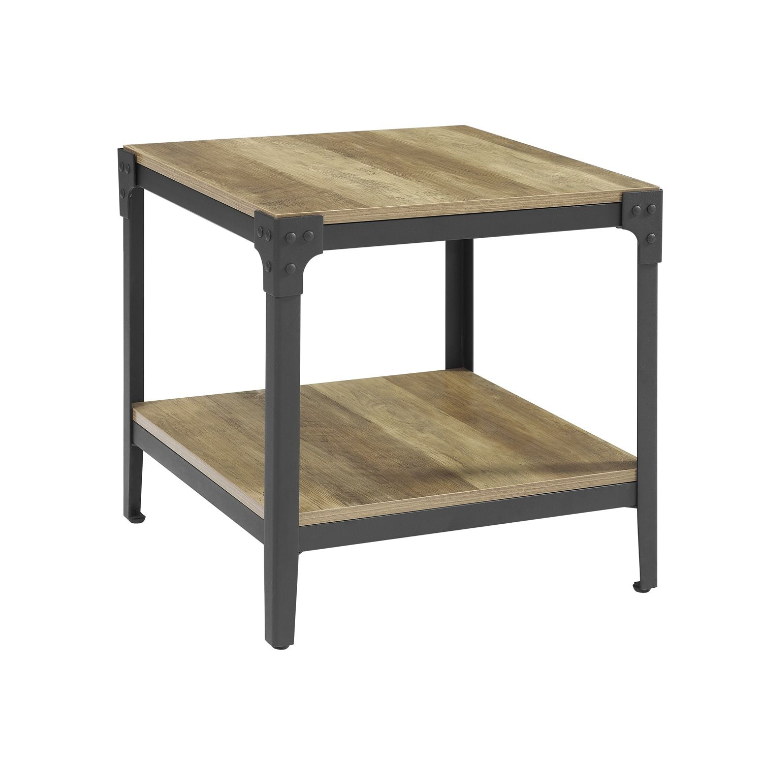 Rustic Angle Rustic Oak End Table Set Of 2 End Tables Oak End