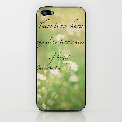 Jane Austen Quote Charm Tenderness Heart iPhone & iPod Skin by KimberosePhotography   Society6