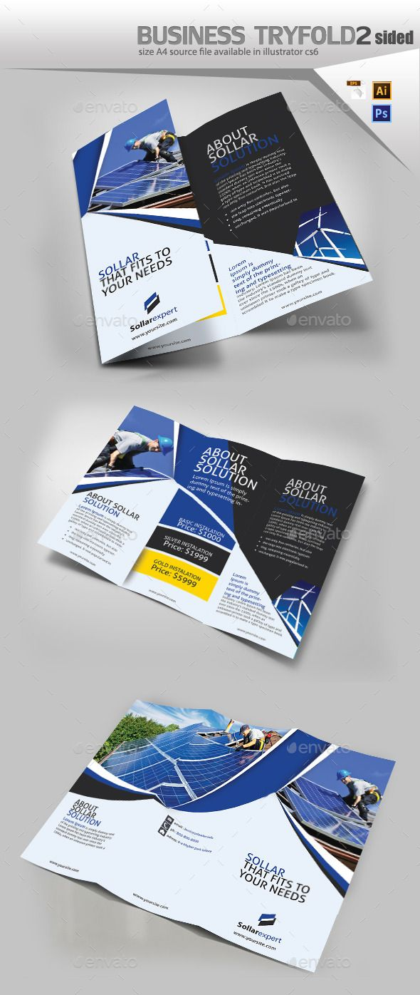 Solar Panel Trifold Double Sided Brochures Template And Print - Double sided brochure template