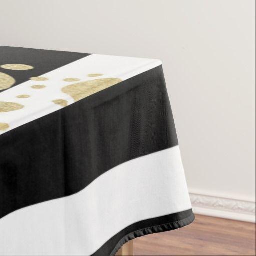 Faux Gold Paint Splatter On Black White Stripes Tablecloth Zazzle Com Striped Tablecloths Gold Paint Black White Stripes
