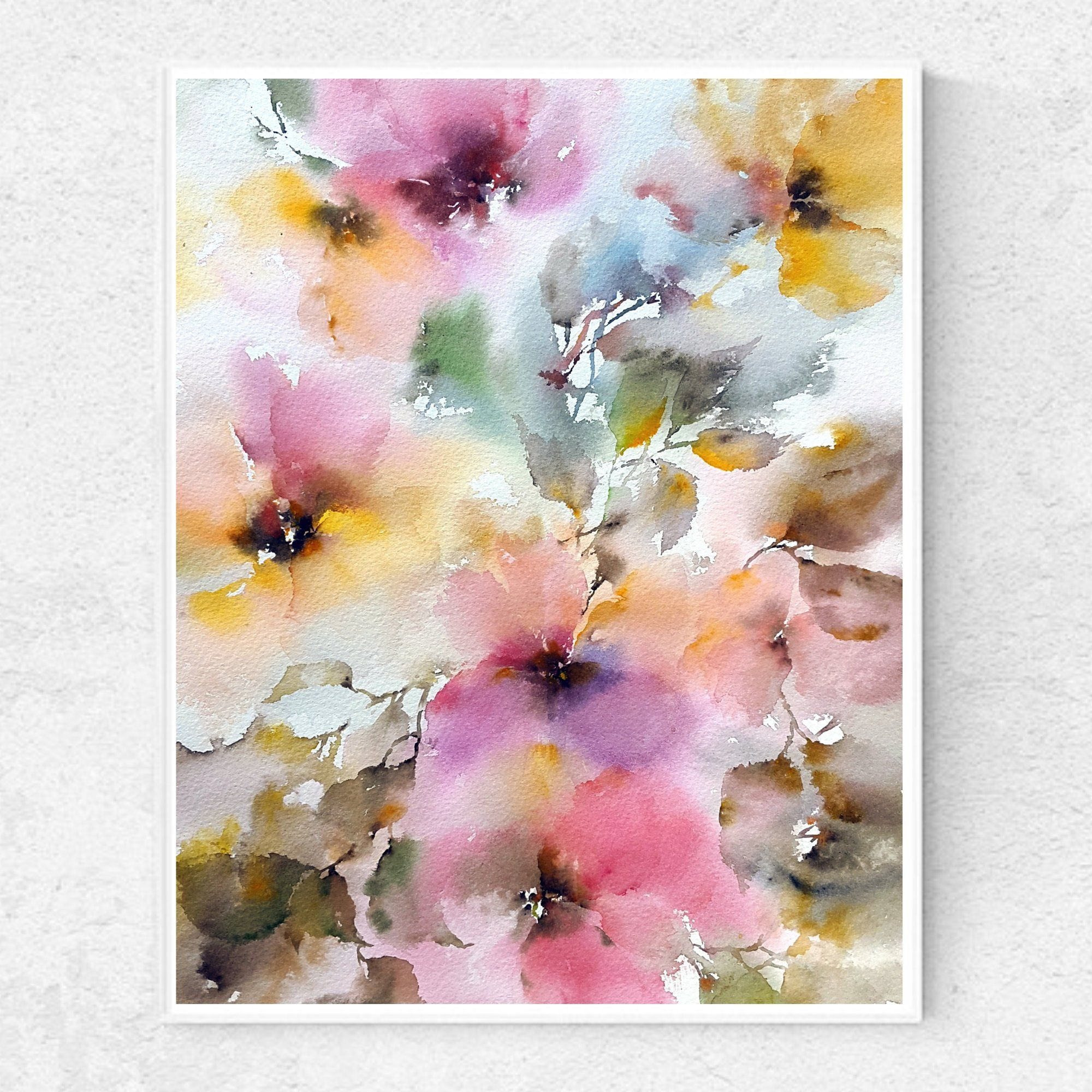 Watercolor Floral Painting With Flowers Abstract Flowers Etsy