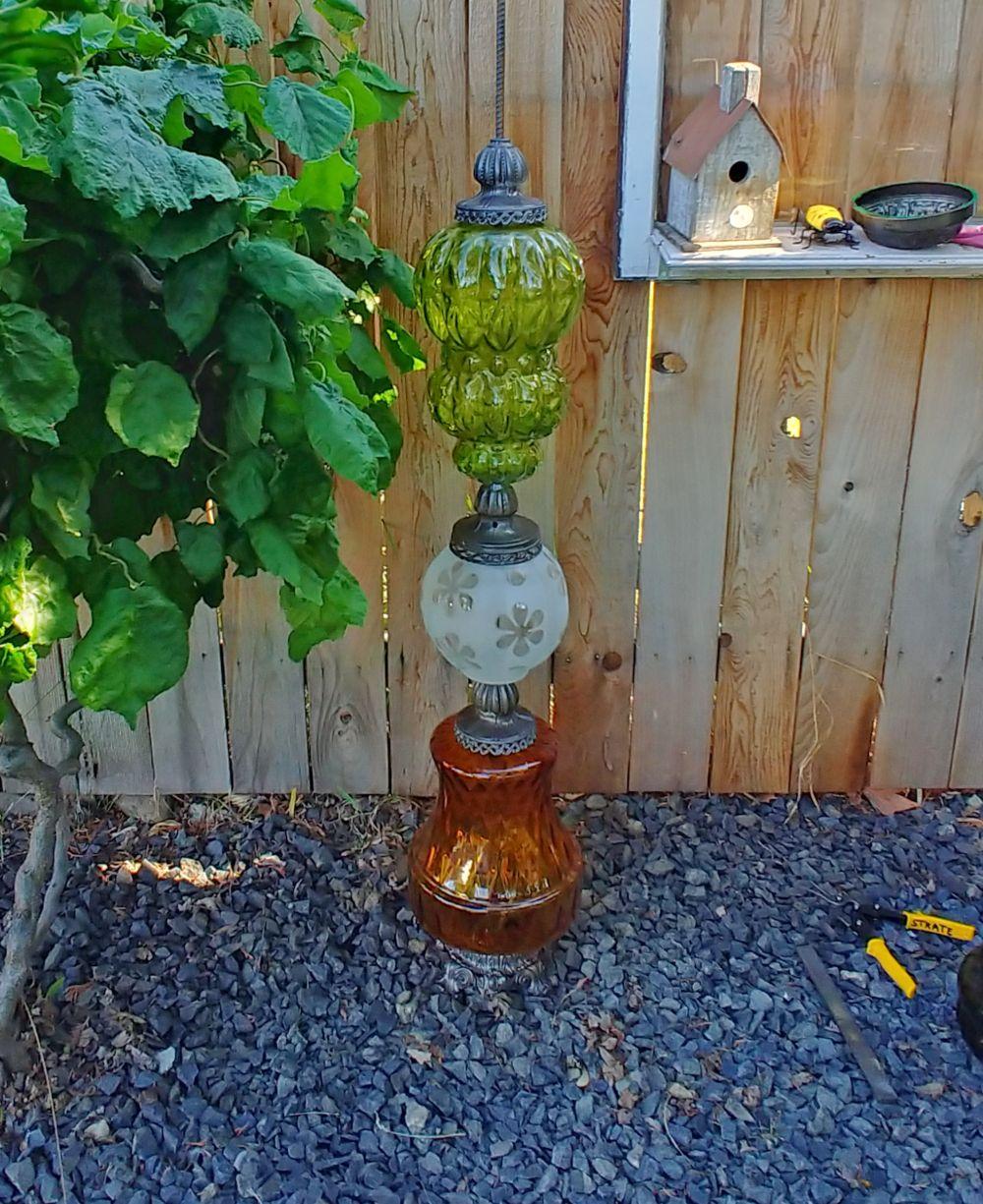 Upcycled Lamp Garden Totem Glass Garden Art Diy Garden Decor