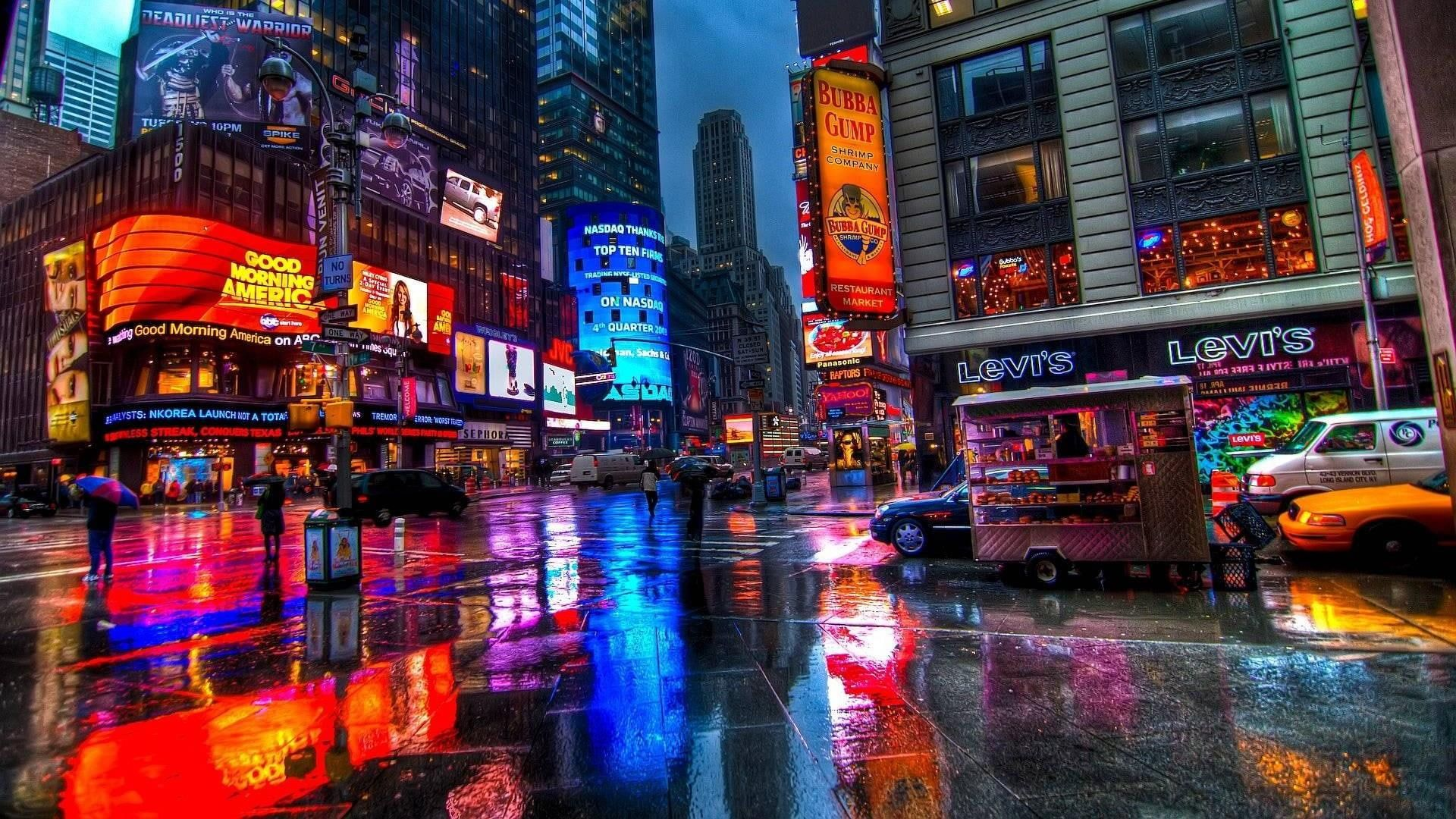 This Wallpaper Is About Wallpaper Reflection Manhattan Times Square New York Neon Sign Street In 2021 Times Square New York New York Wallpaper Cityscape Wallpaper