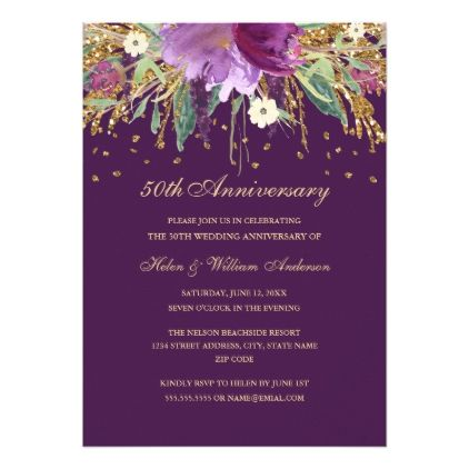 Purple amethyst floral 50th wedding anniversary card wedding purple amethyst floral 50th wedding anniversary card wedding invitations cards custom invitation card design marriage stopboris Image collections