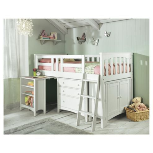 Tesco Direct Harvey Sleep Station Right Hand Ladder Natural White Boys Bedrooms Autumn Room Mid Sleeper Bed