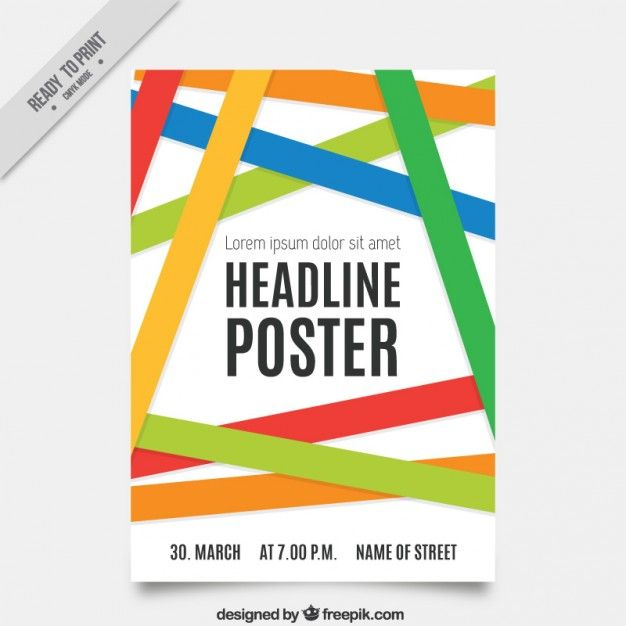 Poster template with colored bands Free Vector – Template Poster Free
