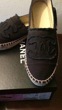 Chanel Black Canvas Espadrilles Flats
