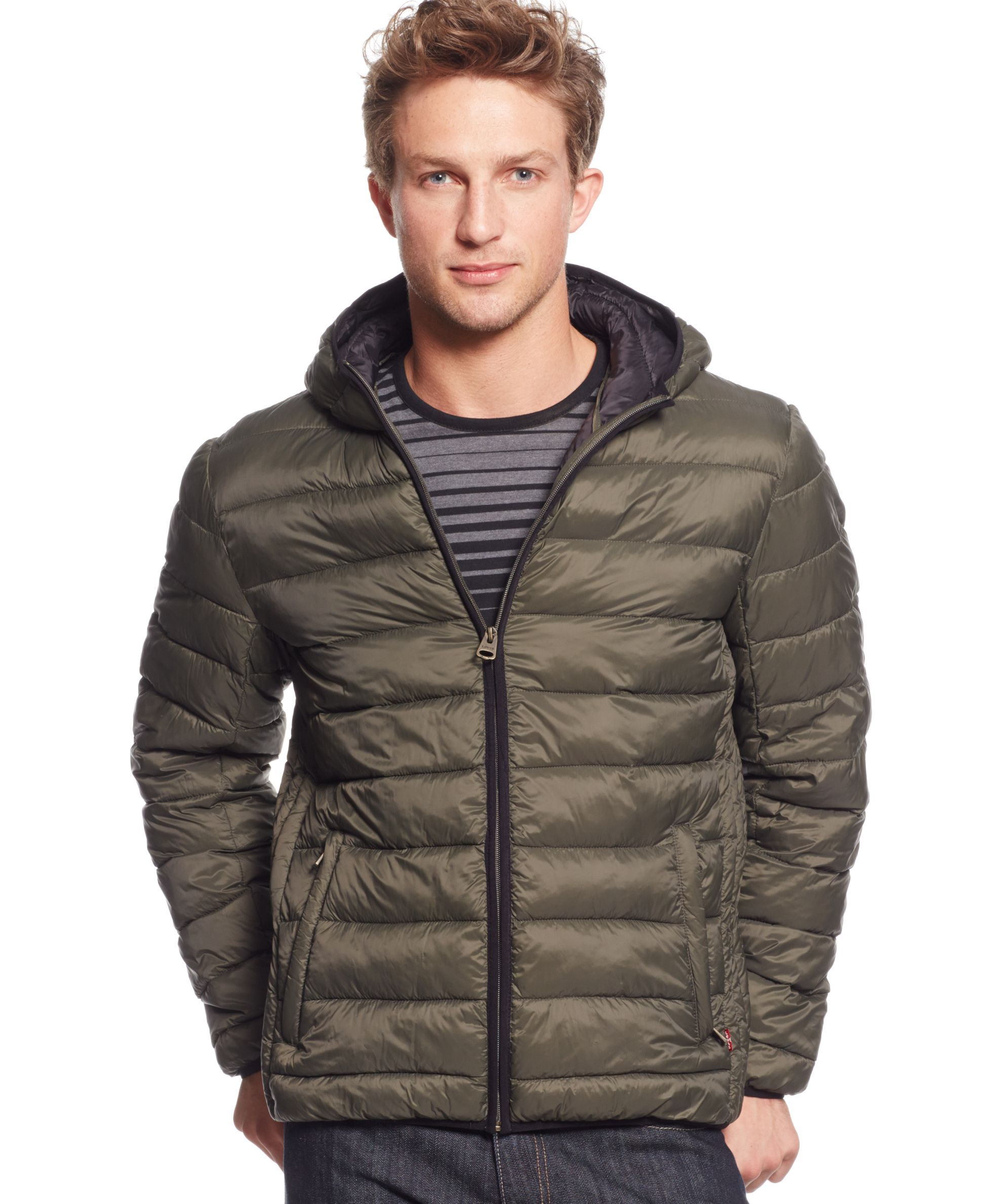 Levi's® Lightweight Packable Puffer Hoodie Jacket - Coats & Jackets - Men -  Macy's