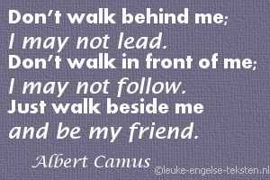 Just walk beside me and be my friend.