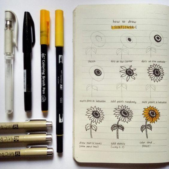 23 Stunning Sunflower Themed Bullet Journal Layout and Spread Ideas #augustbulletjournal