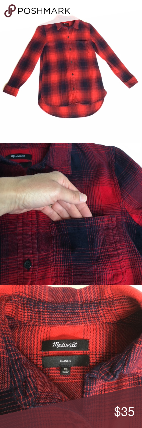 Navy blue flannel shirt womens  Madewell Red Navy Blue Plaid Flannel Shirt XS  Pinterest  Plaid