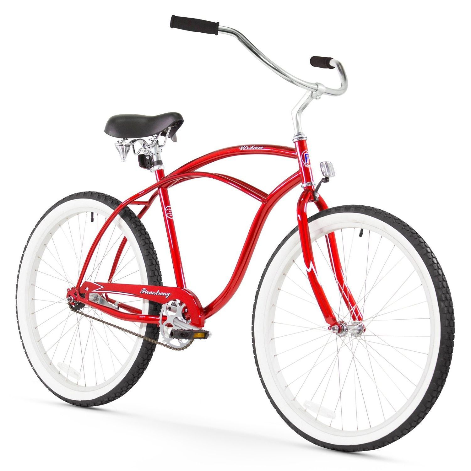 "Red 26/"" Firmstrong Urban Man Single Speed Beach Cruiser Bicycle"