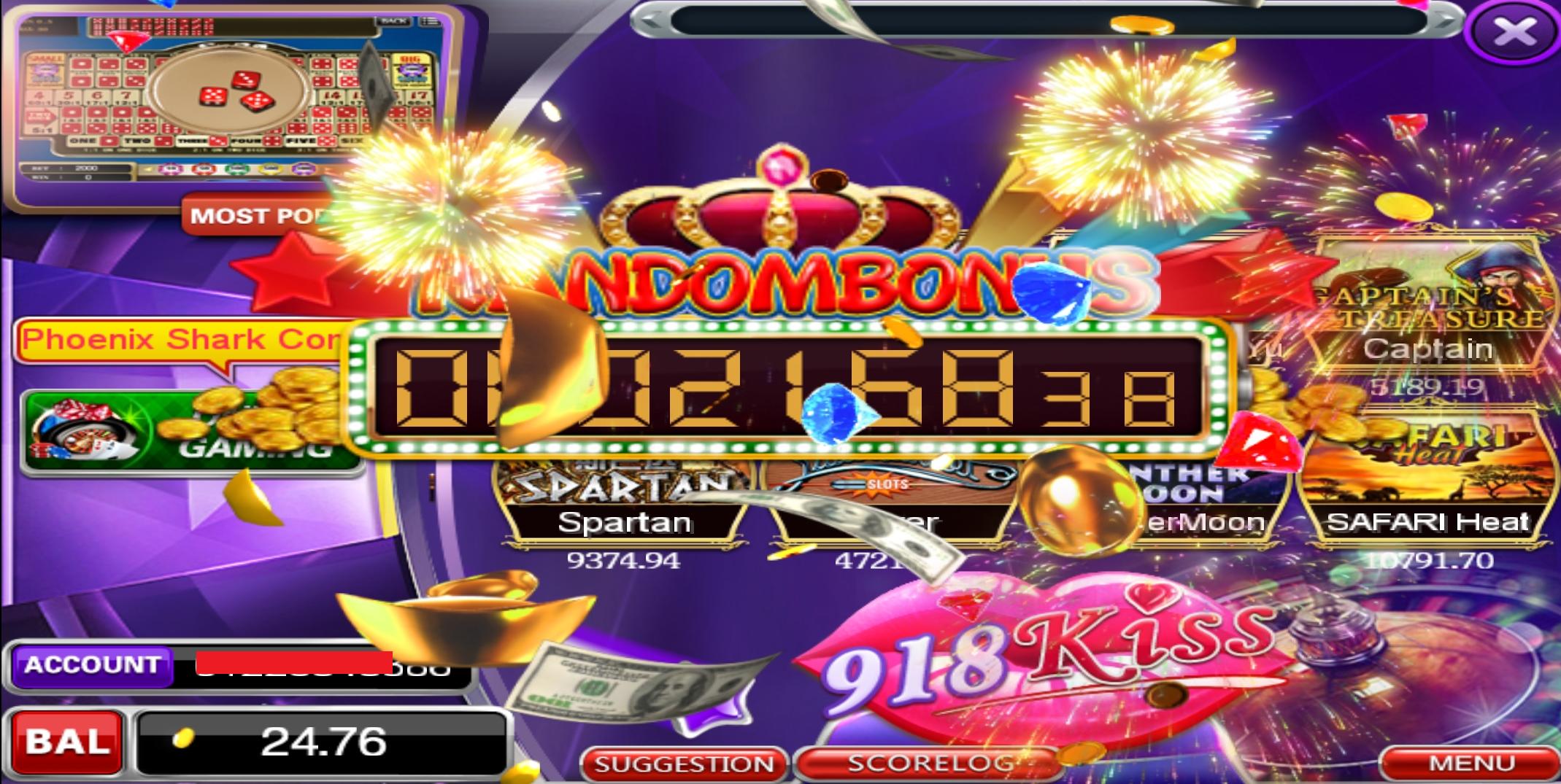 Tahniah Member Dapat Random Jackpot dalam Game 918Kiss , RM2,168.38 !!!
