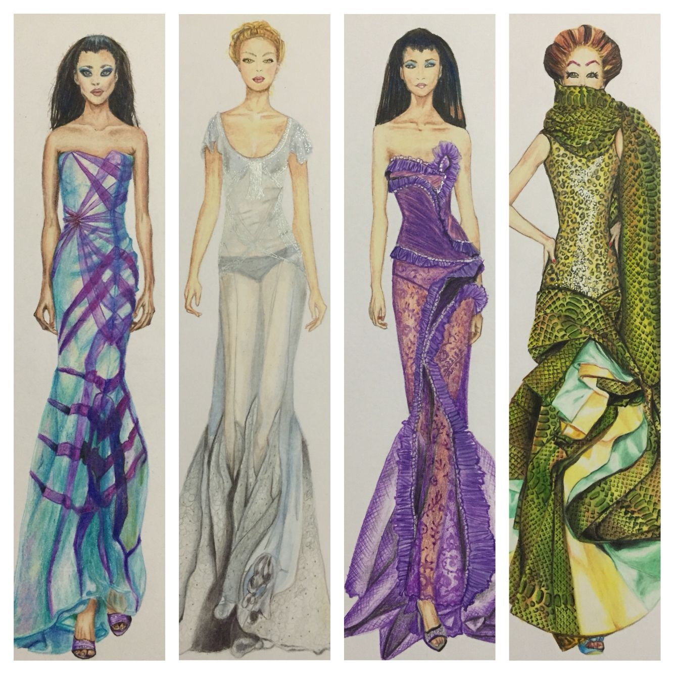 Fashion illustration sketches. Figurines de moda by Roxana Soria para Raokshna