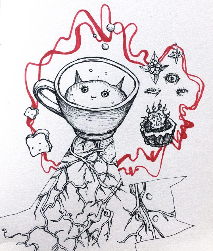 """Cup of Cat Dreams"" by Millie Ho. Pen on paper.   #surrealart #sketch #illustration #catart #tea"