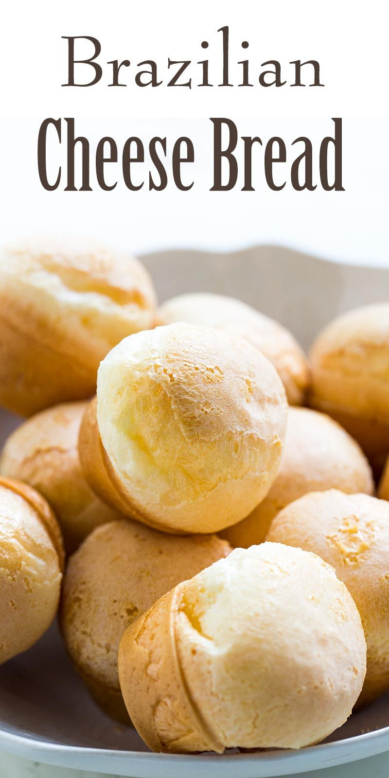 Brazilian Cheese Bread is EASY to make! Puffy, chewy, cheesy. All you need is tapioca flour, milk,
