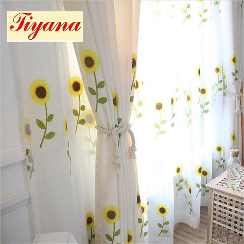 Fancy Modern Good Quality Sunflower Embroidery Curtain Sheer Curtain Fabric Tulle Voile For Living Room Bedroom W Curtains Living Room Curtains Garden Bedroom #sunflower #curtains #for #living #room