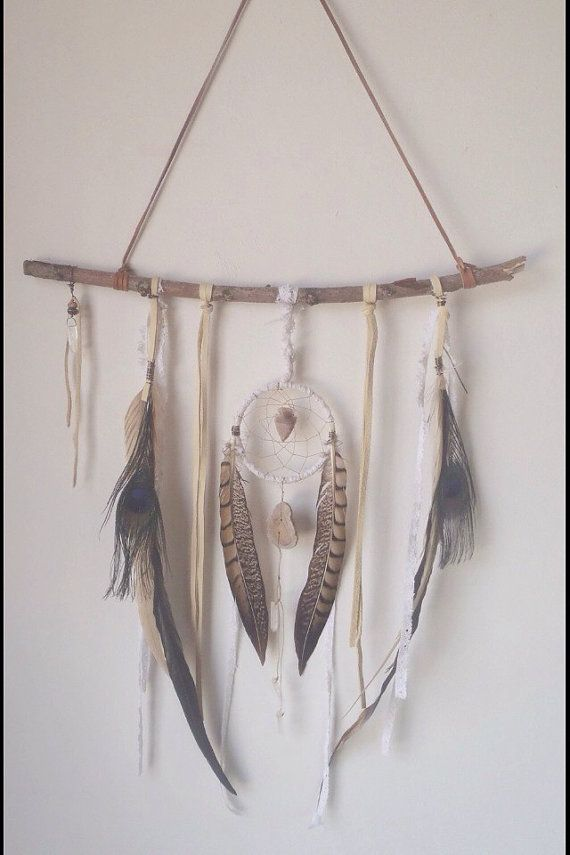 A feminine and bohemian dream catcher made of layers of deerskin and white lace. ♥ Centered with a 4 inch woven dream catcher centered with an