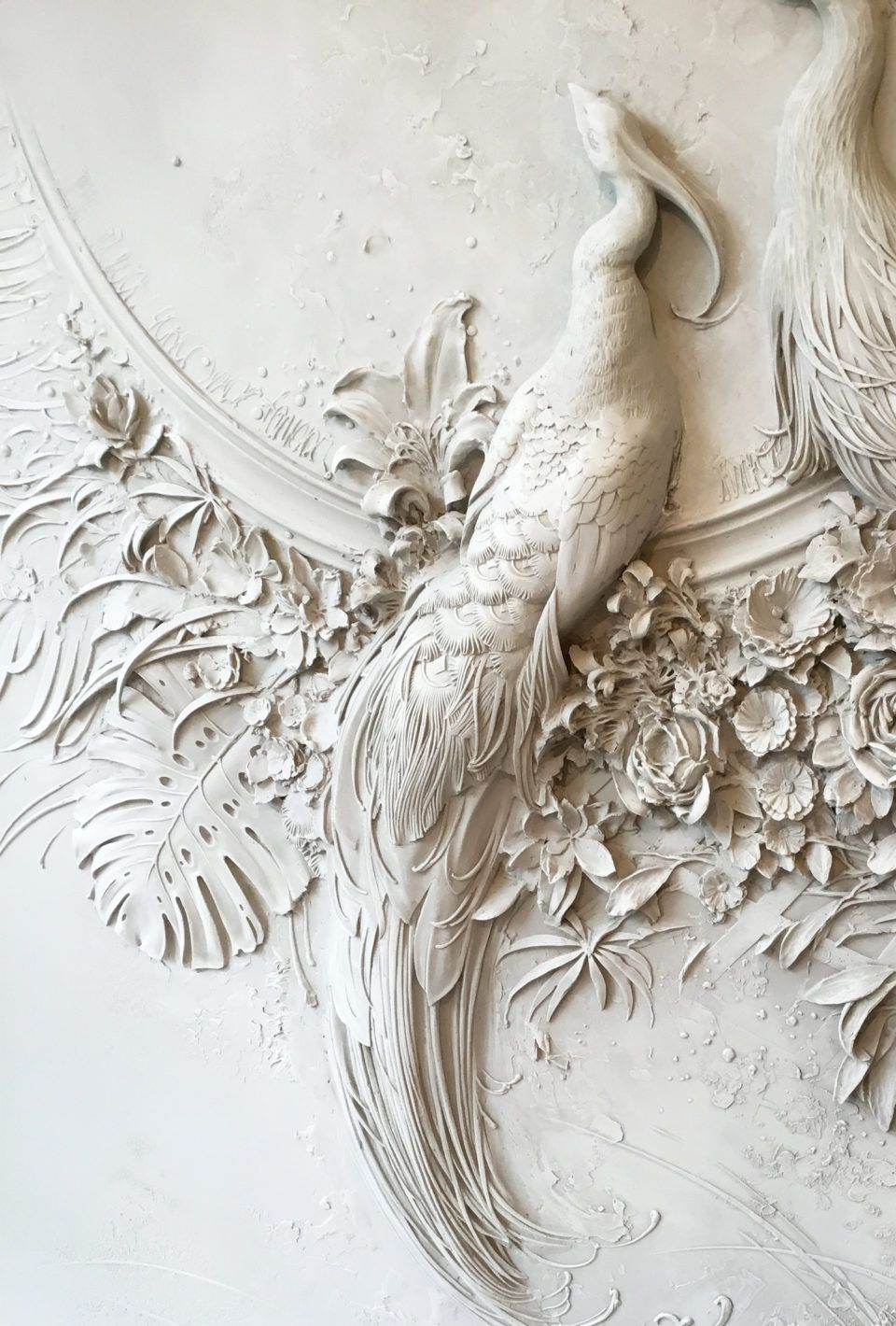 Interior Bas Relief Sculptures Of Peacocks And Lush Florals By Goga Tandashvili Relief Sculpture Plaster Wall Art Plaster Art