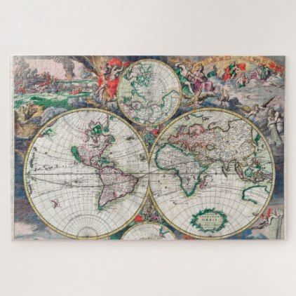 Historical world map 1689 1000 pieces jigsaw puzzle 1000 piece antique map tapestry wall hanging uphome lightweight polyester fabric wall decor x vintage map learn more by visiting the image link gumiabroncs Gallery