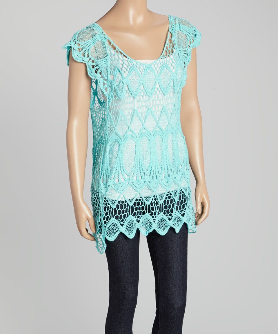 This Aqua Blue Turquoise Crochet Sleeveless Top by Aqua Blue is perfect! #zulilyfinds