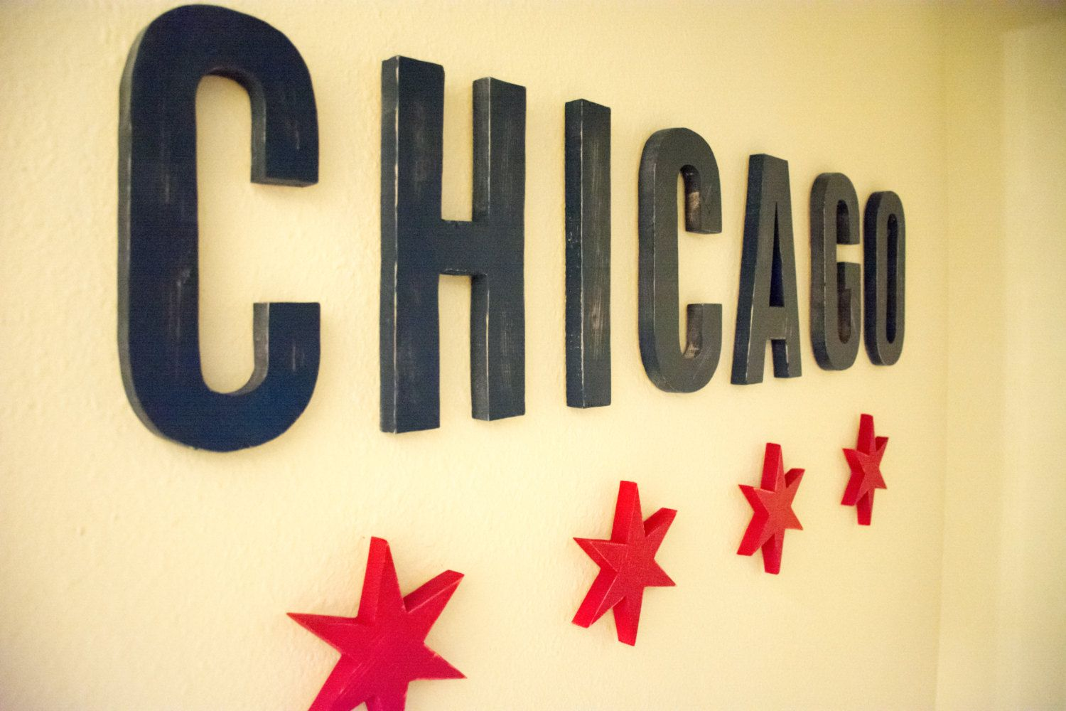 Chicago Distressed Wooden Letters Wall Hanging - Featuring the Stars ...