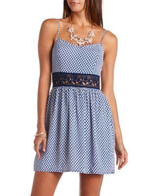 crocheted lace-waist printed dress