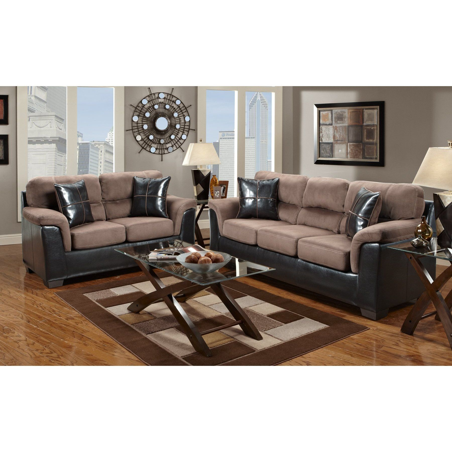 Furniturema Laredo Chocolate Brown Two Tone Sofa Made In Usa Sofas