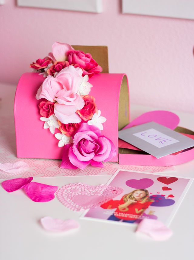 Ideas For Decorating Valentine Box Diy Floral Valentine Mailbox  Artificial Flowers Box And Floral
