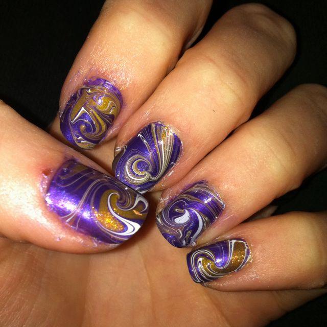 LSU Eye of the Tiger. Water marble. | nail art favorites | Pinterest ...