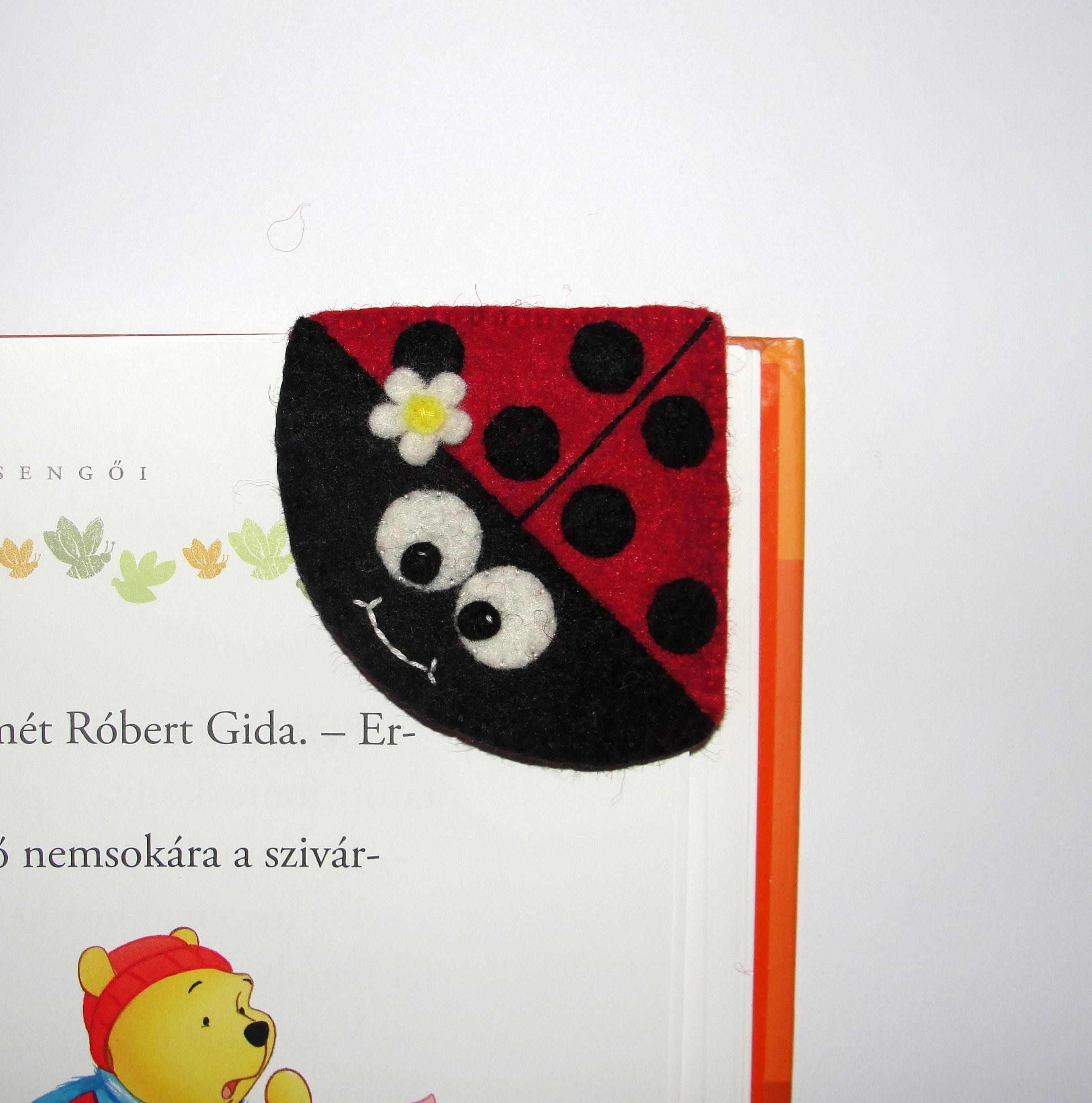 Wool Felt Ladybug Corner Bookmark, Ladybird Corner Bookmark, Animal Bookmark, Birthday Gift, Teacher Gift, School Bookmark, Handsew Bookmark by NitaFeltThings on Etsy