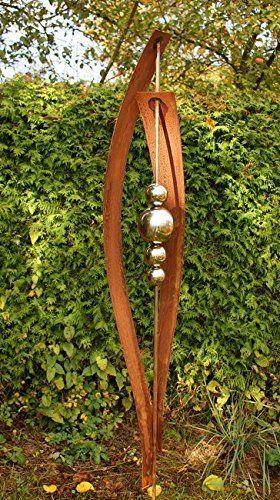 Roststab rost stecker mit 4 edelstahlkugeln for Gartendeko rost stecker