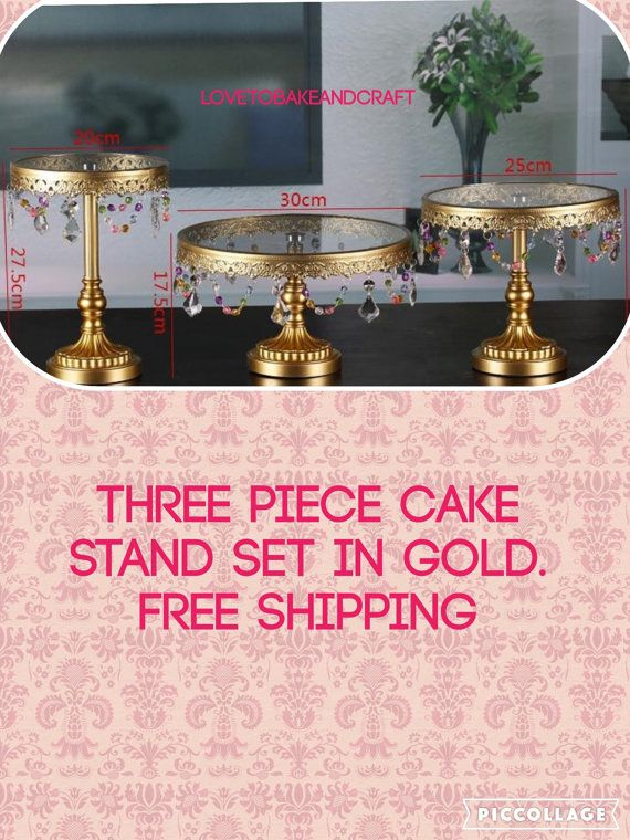 Gold Cake stand  gold 3 piece cake stands by Lovetobakeandcraft I have the two black ones and only need one cool vintage one...but this idea might be more chic.