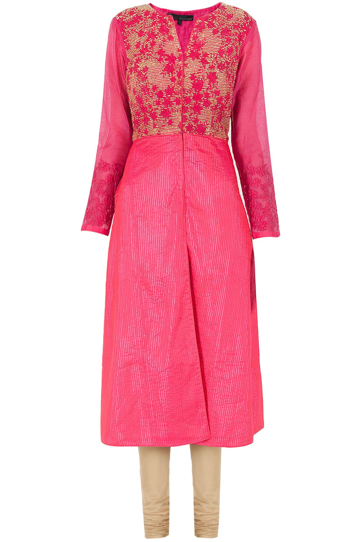 Pink pleated embroidered kurta set available only at Pernia's Pop-Up Shop.